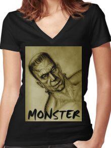 frankenstein monster Women's Fitted V-Neck T-Shirt