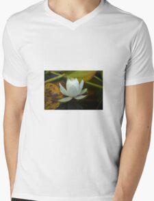 White waterlilly Mens V-Neck T-Shirt