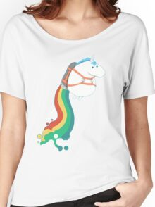 FAT UNICORN ON RAINBOW JETPACK Women's Relaxed Fit T-Shirt