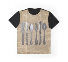 Vintage Cutlery Set,Spoon,Fork,Knife,Antique Dinning,Old-Fashioned Graphic T-Shirt