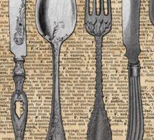 Vintage Cutlery Set,Spoon,Fork,Knife,Antique Dinning,Old-Fashioned Sticker
