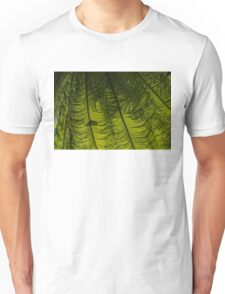 Tropical Green Rhythms - Feathery Fern Fronds - Horizontal View Down Right Unisex T-Shirt