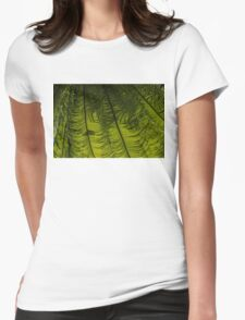 Tropical Green Rhythms - Feathery Fern Fronds - Horizontal View Down Right Womens Fitted T-Shirt