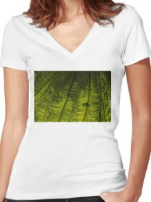 Tropical Green Rhythms - Feathery Fern Fronds - Horizontal View Down Left Women's Fitted V-Neck T-Shirt