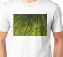 Tropical Green Rhythms - Feathery Fern Fronds - Horizontal View Down Left Unisex T-Shirt