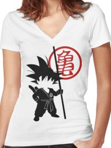 Goku with tail Women's Fitted V-Neck T-Shirt