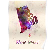 Rhode Island US state in watercolor Poster