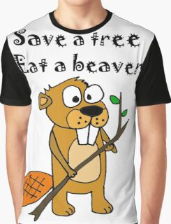 Funny Save a Tree, Eat a Beaver Cartoon Graphic T-Shirt
