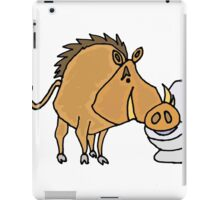 Funny Cool Warthog Drinking from Toilet Bowl iPad Case/Skin