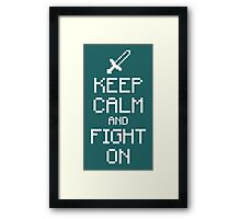 Keep calm and fight on (white) Framed Print
