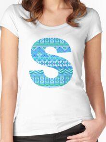 Letter S Blue Aztec Stripes Pattern Boho Monogram Initial Women's Fitted Scoop T-Shirt