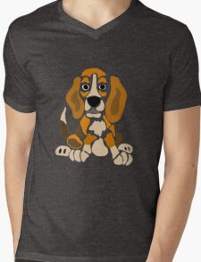 Cool Funny Funky Beagle Puppy Abstract Art Mens V-Neck T-Shirt