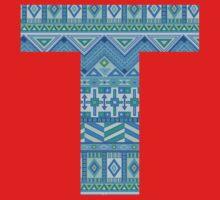 Letter T Blue Aztec Stripes Pattern Boho Monogram Initial Baby Tee