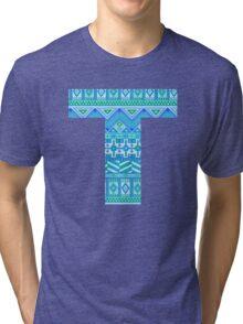 Letter T Blue Aztec Stripes Pattern Boho Monogram Initial Tri-blend T-Shirt