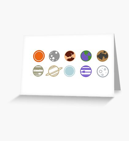 mimilist planets Greeting Card