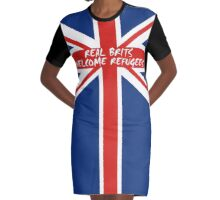 Real Brits Welcome Refugees Graphic T-Shirt Dress