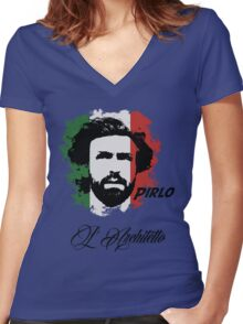 ITALIA ANDREA PIRLO WC 14 FOOTBALL T-SHIRT Women's Fitted V-Neck T-Shirt