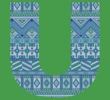 Letter U Blue Aztec Stripes Pattern Boho Monogram Initial Kids Tee