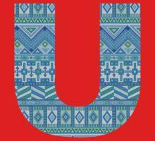 Letter U Blue Aztec Stripes Pattern Boho Monogram Initial Baby Tee