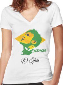 BRAZIL NEYMAR JR. WC 14 FOOTBALL T-SHIRT Women's Fitted V-Neck T-Shirt