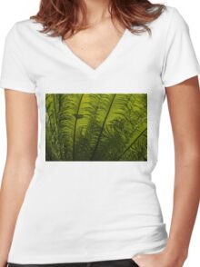 Tropical Green Rhythms - Feathery Fern Fronds - Horizontal View Upwards Right Women's Fitted V-Neck T-Shirt