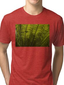 Tropical Green Rhythms - Feathery Fern Fronds - Horizontal View Upwards Right Tri-blend T-Shirt