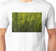 Tropical Green Rhythms - Feathery Fern Fronds - Horizontal View Upwards Right Unisex T-Shirt