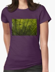 Tropical Green Rhythms - Feathery Fern Fronds - Horizontal View Upwards Right Womens Fitted T-Shirt