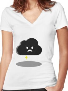 angry lightning cloud Women's Fitted V-Neck T-Shirt