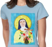 An acrylic painting of St Theresa - The Lady of the Roses Womens Fitted T-Shirt