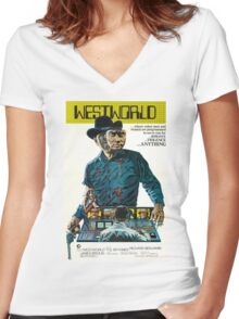 Westworld Movie Poster Women's Fitted V-Neck T-Shirt