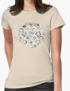 Monochrome Art Deco Marble Tiles Womens Fitted T-Shirt