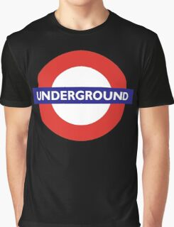 UNDERGROUND, TUBE, LONDON, GB, ENGLAND, BRITISH, BRITAIN, UK on BLACK Graphic T-Shirt