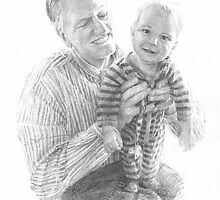 grandfather and grandson drawing by Mike Theuer