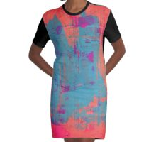 Orange Abstract Graphic T-Shirt Dress
