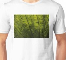 Tropical Green Rhythms - Feathery Fern Fronds - Horizontal View Upwards Left Unisex T-Shirt