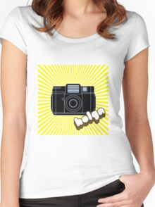 Holga Camera with Yellow Rays Women's Fitted Scoop T-Shirt