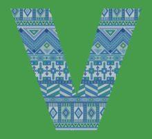 Letter V Blue Aztec Stripes Pattern Boho Monogram Initial Baby Tee