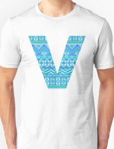 Letter V Blue Aztec Stripes Pattern Boho Monogram Initial Unisex T-Shirt