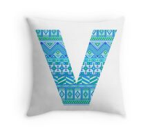 Letter V Blue Aztec Stripes Pattern Boho Monogram Initial Throw Pillow
