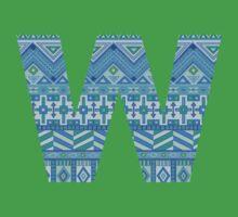 Letter W Blue Aztec Stripes Pattern Boho Monogram Initial One Piece - Short Sleeve