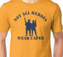 Not All Heroes Wear Capes (Navy print) Unisex T-Shirt