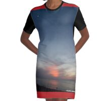 Sunset at sea with moon Graphic T-Shirt Dress