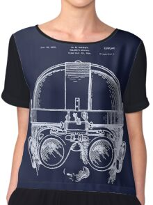 Vintage Welders Goggles blueprint detail drawing Chiffon Top