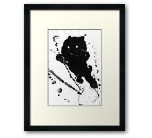 Jumping Leaping Black Puppy Dog Kitten Cat Framed Print