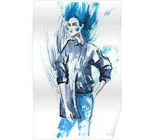 Fashion girl in sketch-style.watercolor illustration. Poster