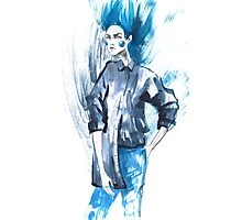 Fashion girl in sketch-style.watercolor illustration. Photographic Print