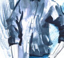 Fashion girl in sketch-style.watercolor illustration. Sticker