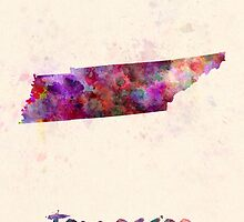 Tennessee US state in watercolor by paulrommer