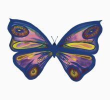 Watercolour Butterfly 1 (blue background) One Piece - Long Sleeve